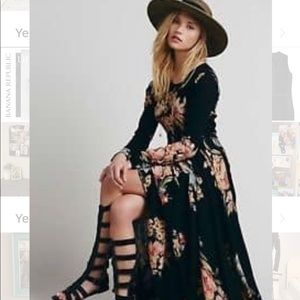 Rare Free People boho Floral Dress XS